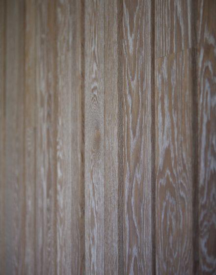 Drewniana dębowa deko ścianka: przezroczysta biel, Q-3409.