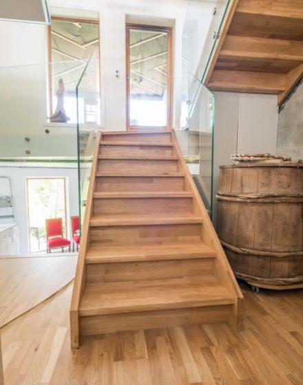 azuoliniai laiptai mediniai laiptai I forma Besplavė alyva 3305 Medžio stilius
