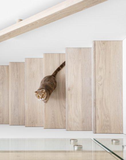 Drewniane podłogi, dębowe lite schody: kolor 3408 Ekstra biel. Drewniane drzwi: malowane na biało RAL 9003, model ED2F
